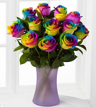Time To Celebrate Rainbow Rose Bouquet 12 Stems Vase Included