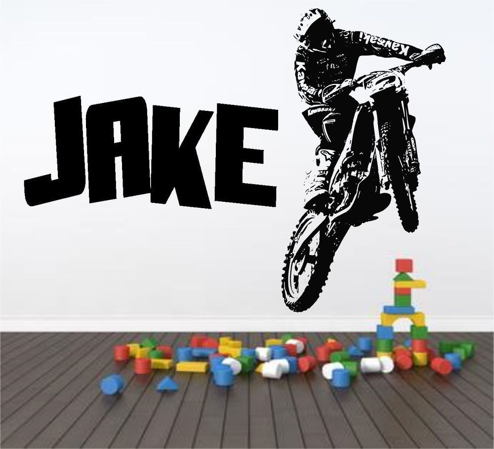 Personalised Motocross Motorbike Wall Art Sticker & Personalised Motocross Motorbike Wall Art Sticker | kids | Pinterest ...