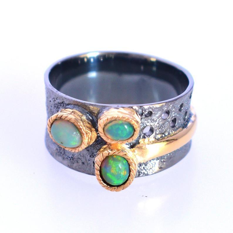 Black Rhodium Ring Diamond Ring Handmade Ring Silver Ring Opal Gemstone Ring Natural Ethiopian Welo Fire Opal Ring Opal Ring