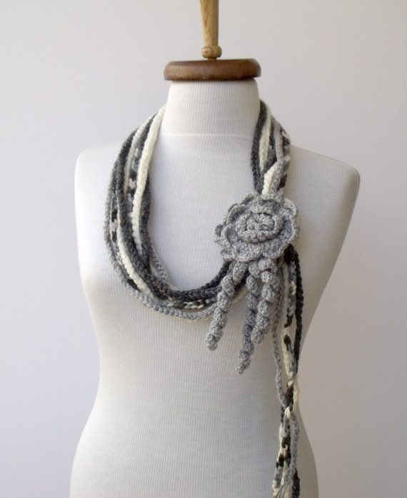 String Of Love Scarf-Grey and Cream