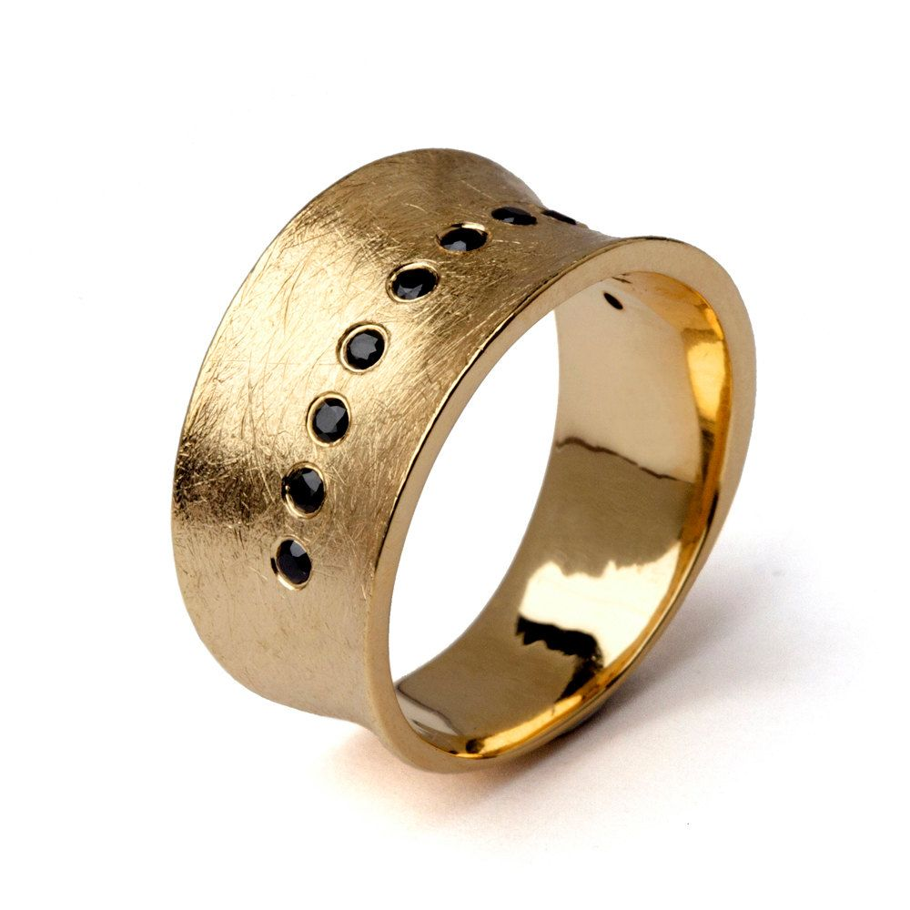engraved ring band rustic mens media rings hammered bands gold white wide wedding unique