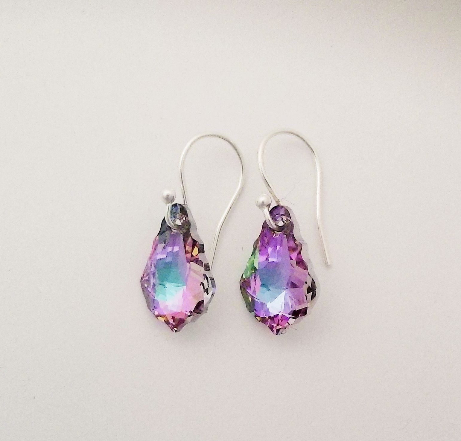 Swarovski Elements Earrings In Beautiful Shades Of Mauve And Blue