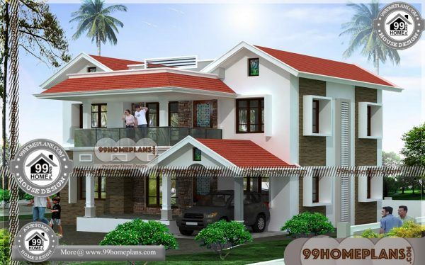 Modern Home Designers 50 Low Cost Double Storey House Plans Free Double Storey House Plans Kerala House Design House Front Design