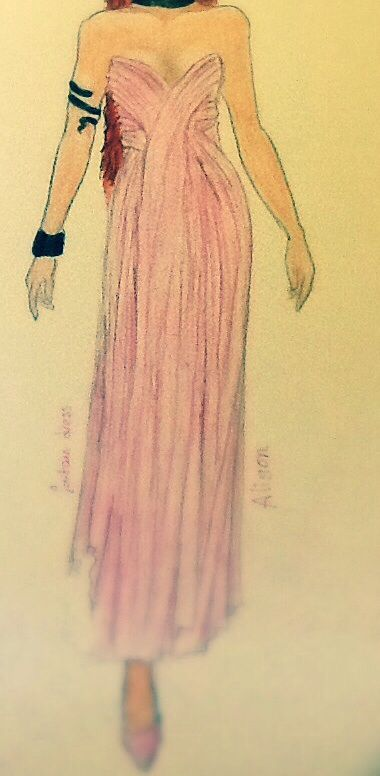 Fountain dress~ chifon, this is a dress I drew with my new book, so happy to be back designing again. I cropped out her face book it went wrong haha #fashion #design #pink