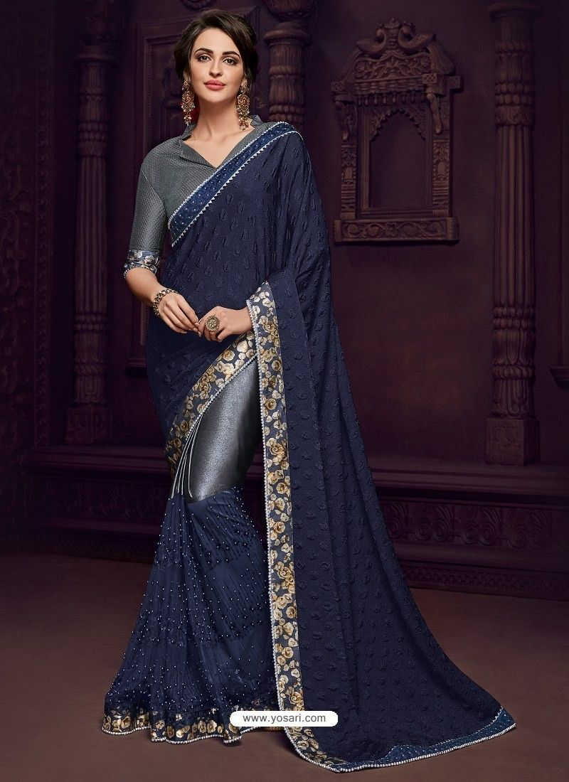 Women fashion saree navy and grey imported fabrics heavy embroidered designer party wear