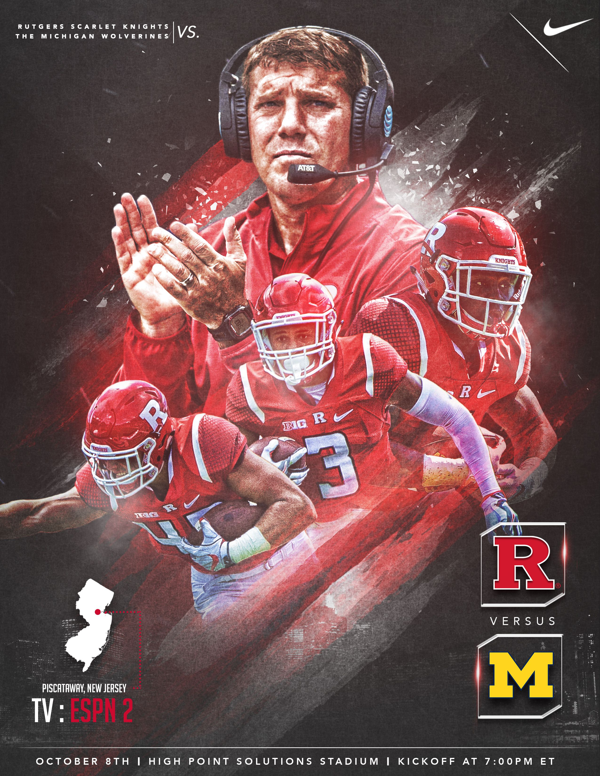 Game Week Graphics Released Early In The Week To Promote Saturday S Game Rutgers Football Sports Design Inspiration Football Poster