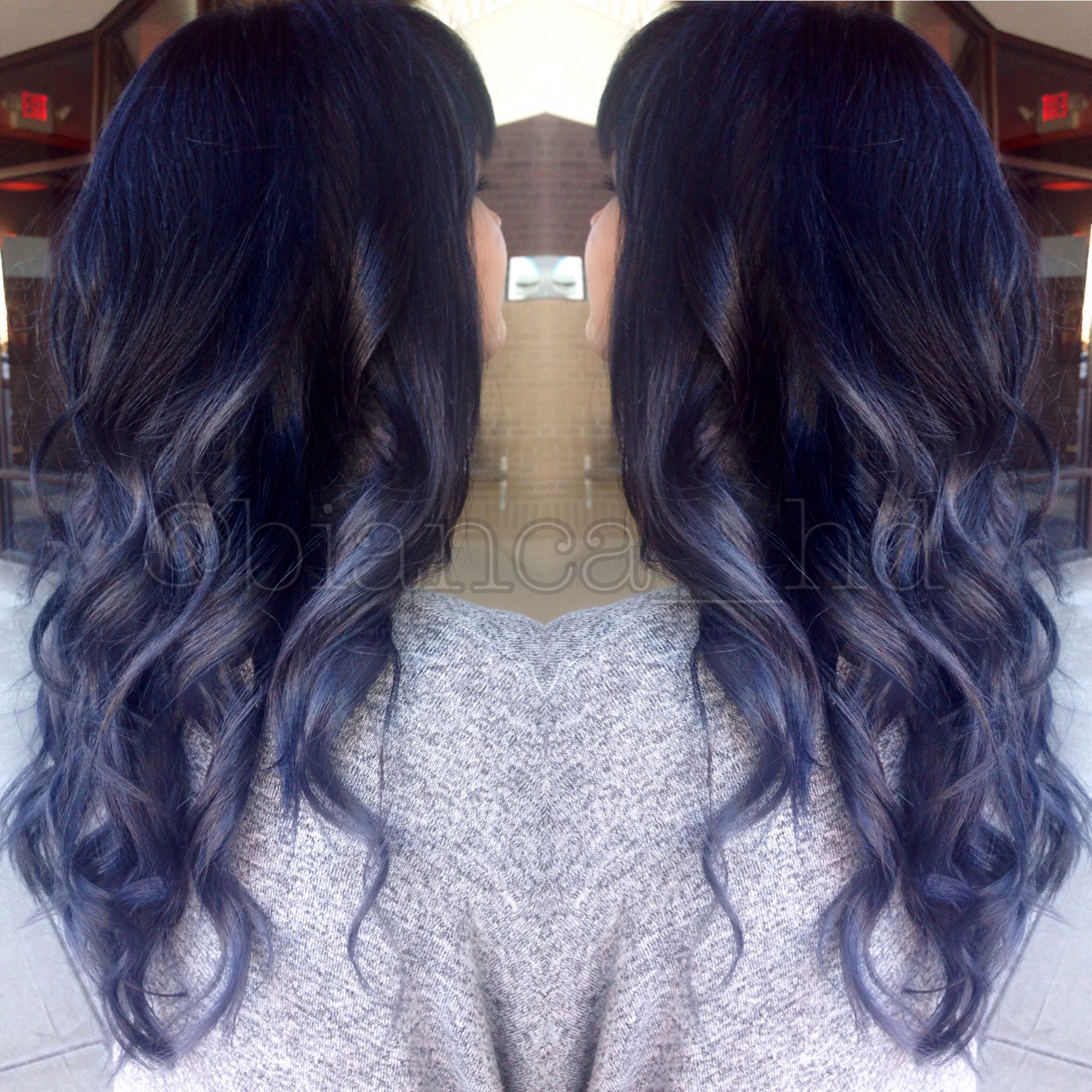 Steel Blue Grey Ombre Balayage With Black Roots And Soft Curls Spring Hair Color Hair Ombre Hair Color