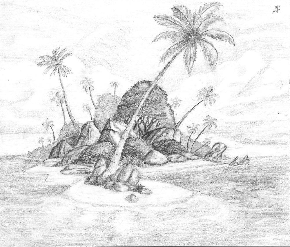 остров рисунок карандашом