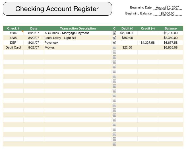 Checkbook Register Template  Checkbook Register