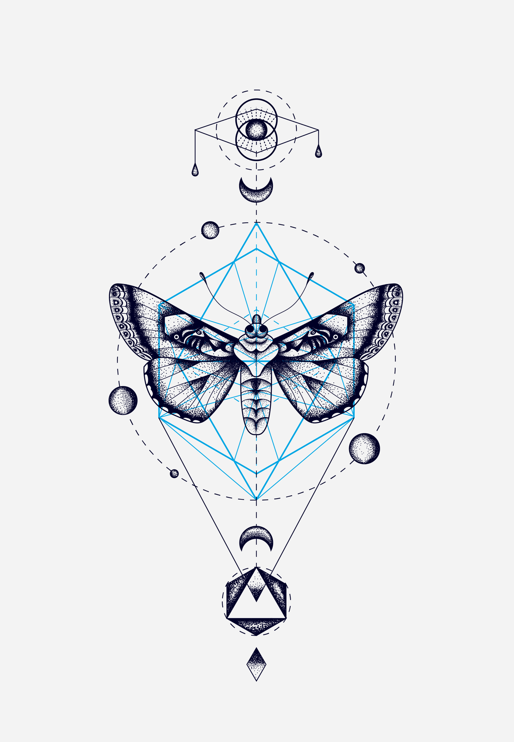 How To Do Line Design Art : Moth geometric totem cocorrina totems and