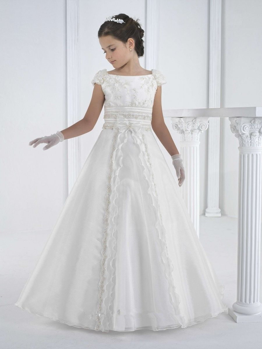 a line long beautiful white first holy communion dress cap