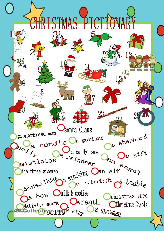 Christmas Pictionary Christmas pictionary, English