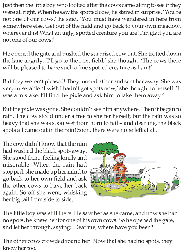 Worksheets Examples Short Story For Grade Three With Exercises grade 3 reading lesson short stories the spotted cow 3