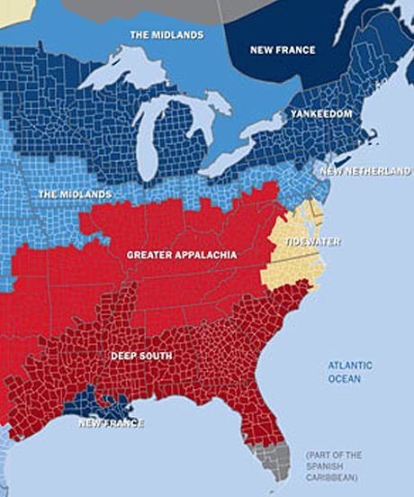 New American Nations Cultural Social Political Map Map Of The - Us-political-map-red-blue
