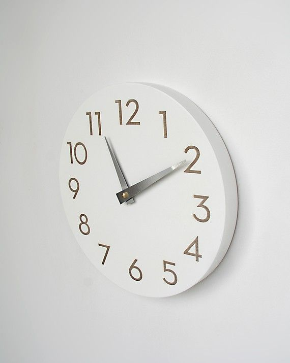 10 Inch Modern Numbers Clock Simple White Etsy Wall Clock Modern Clock White Clocks