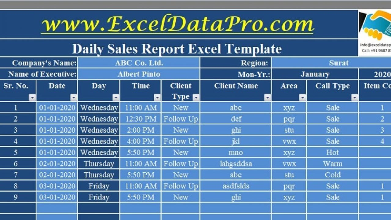 Download Daily Sales Report Excel Template Exceldatapro With Daily Sales Call Report Template Excel Templates Business Sales Report Template Excel Templates