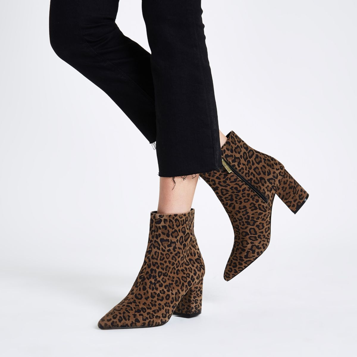 ef11e8df6b33 Brown wide fit leopard print ankle boots
