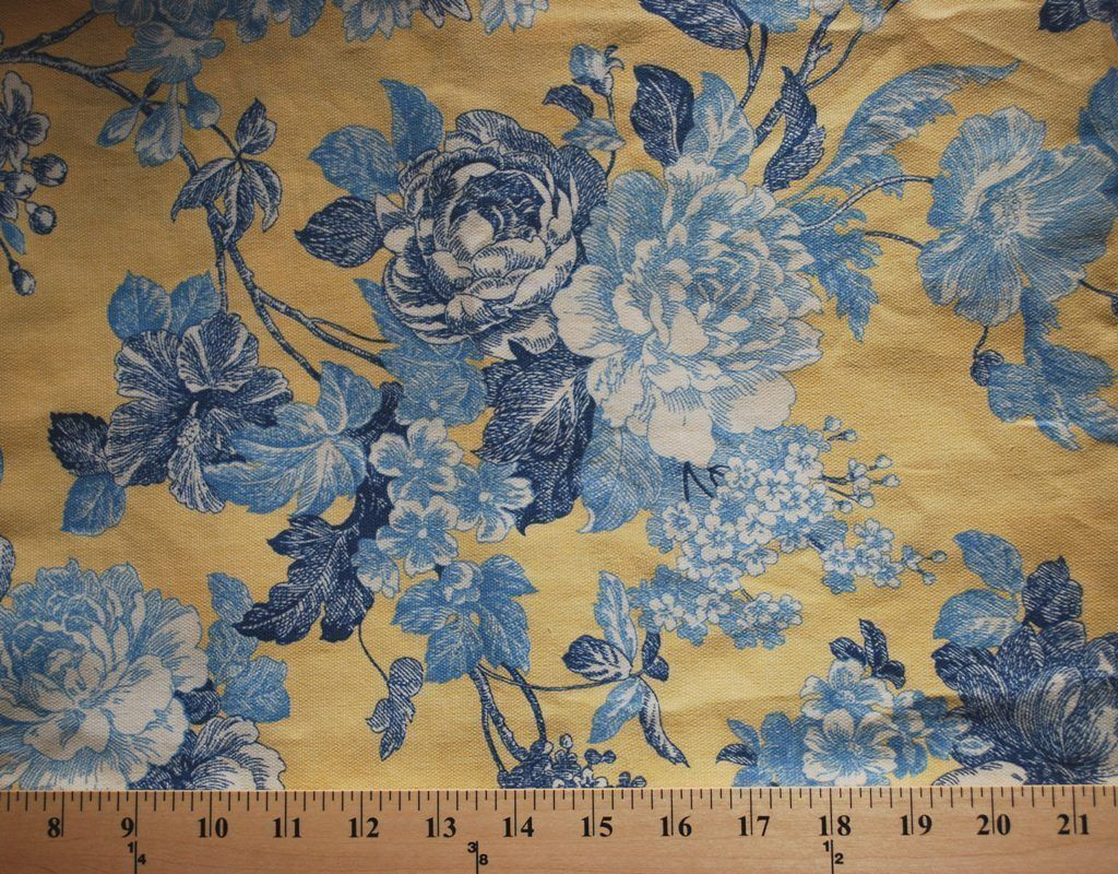 Waverly French Country Blue Yellow Floral Upholstery Fabric 75