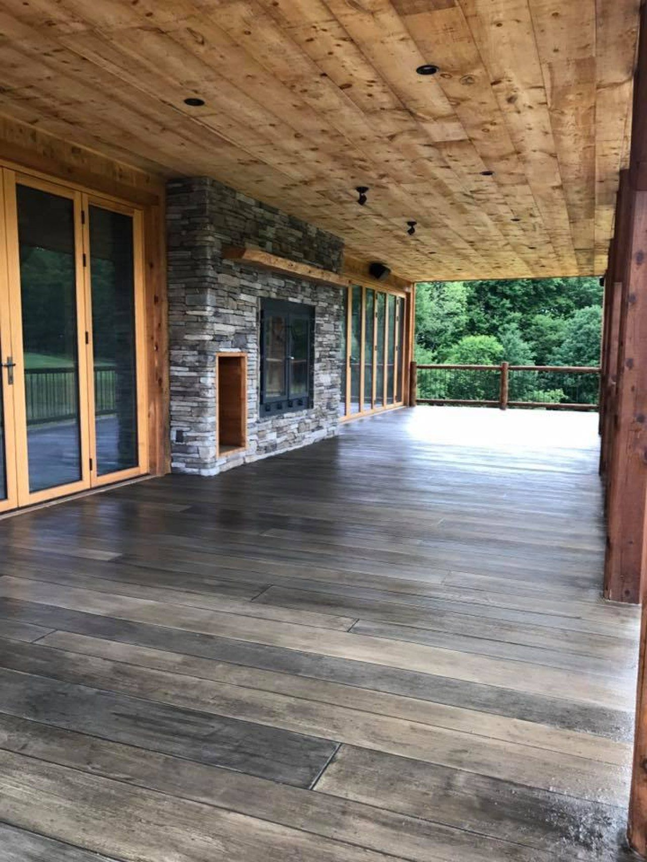 Custom stained gray weathered concrete wood porch in