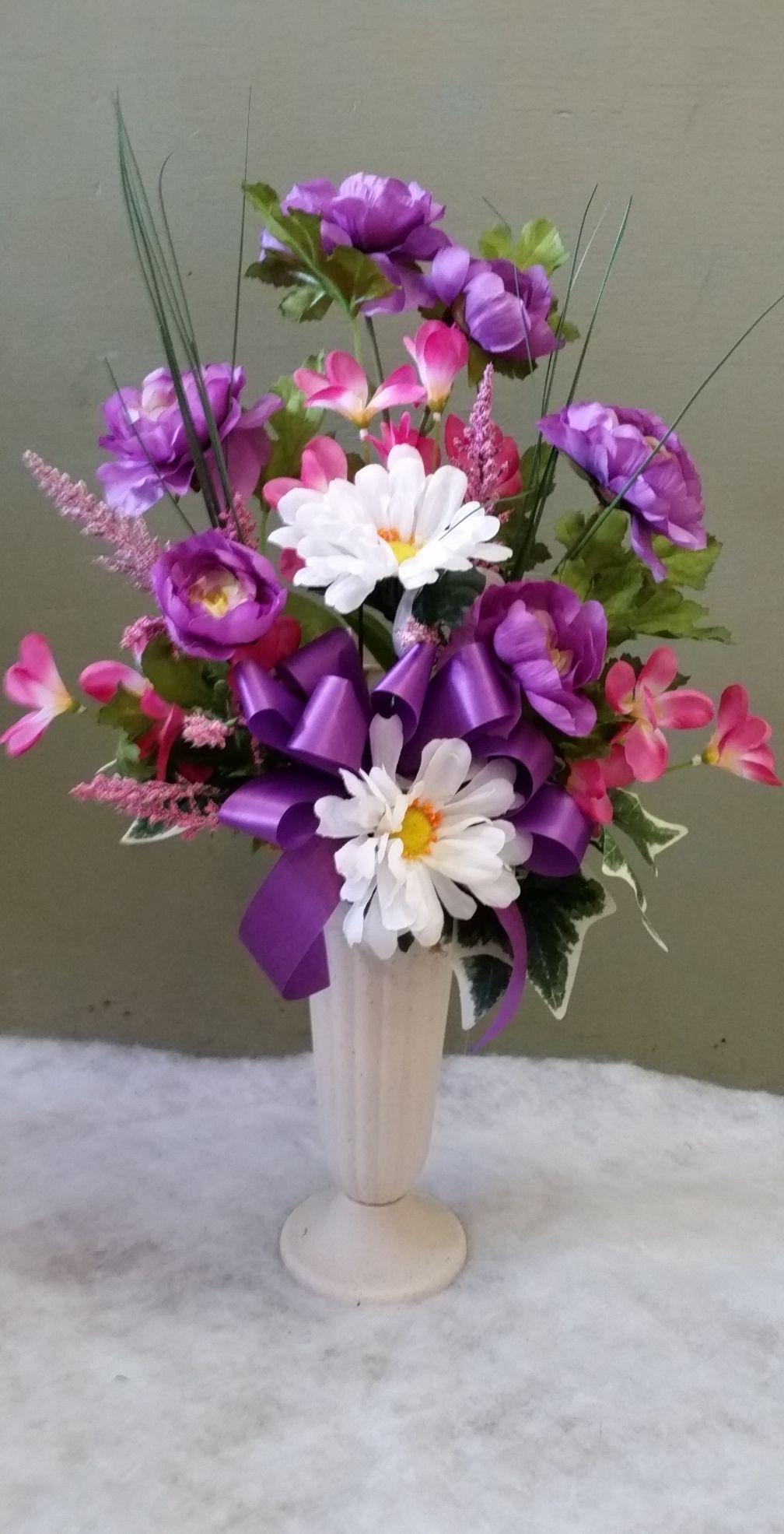 Variety of silk flower cemetery vases kurtz florist spring flower variety of silk flower cemetery vases mightylinksfo