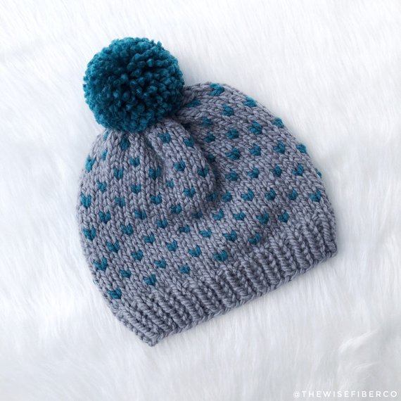 4cb7f5fddc5 Women s Gray and Teal Blue Nordic Chunky Knit Beanie w  Pom Pom ...