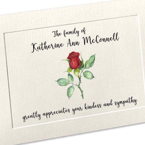 Sympathy Acknowledgement Cards, Funeral Thank You Cards, Custom