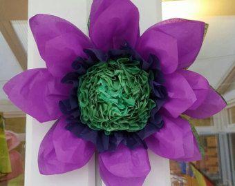 Set Of 3x 45cm 28cm Purple Tissue Paper Flowers By Gisellesbloom