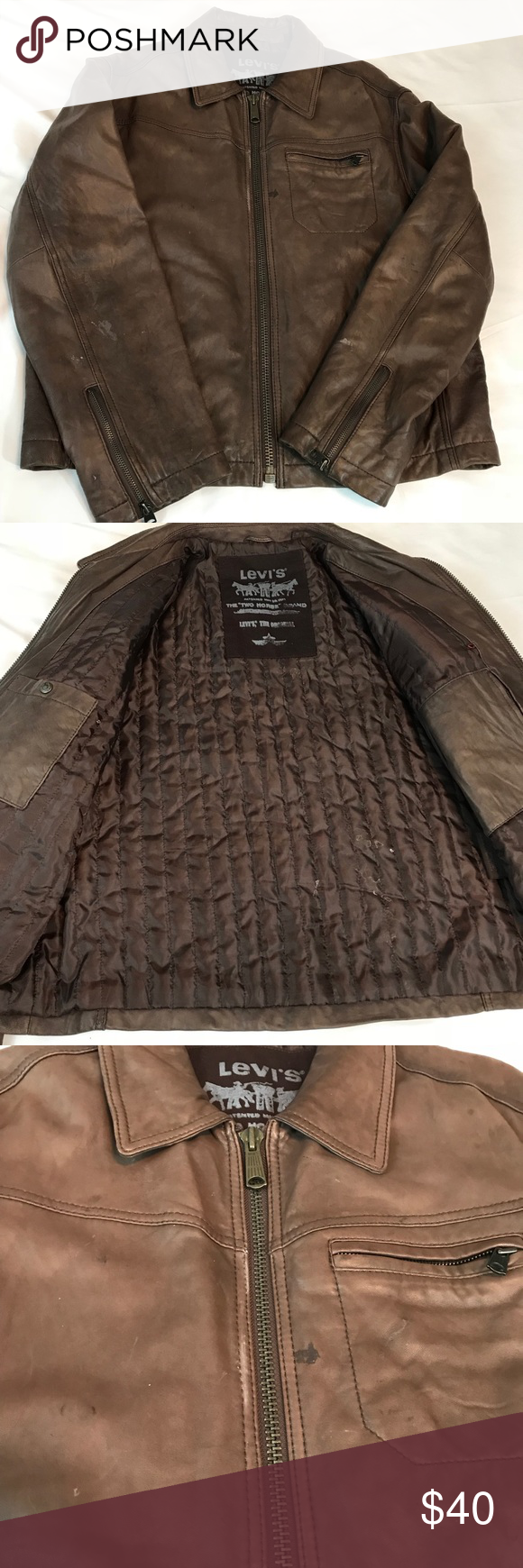 Levis brown leather jacket sz large (With images