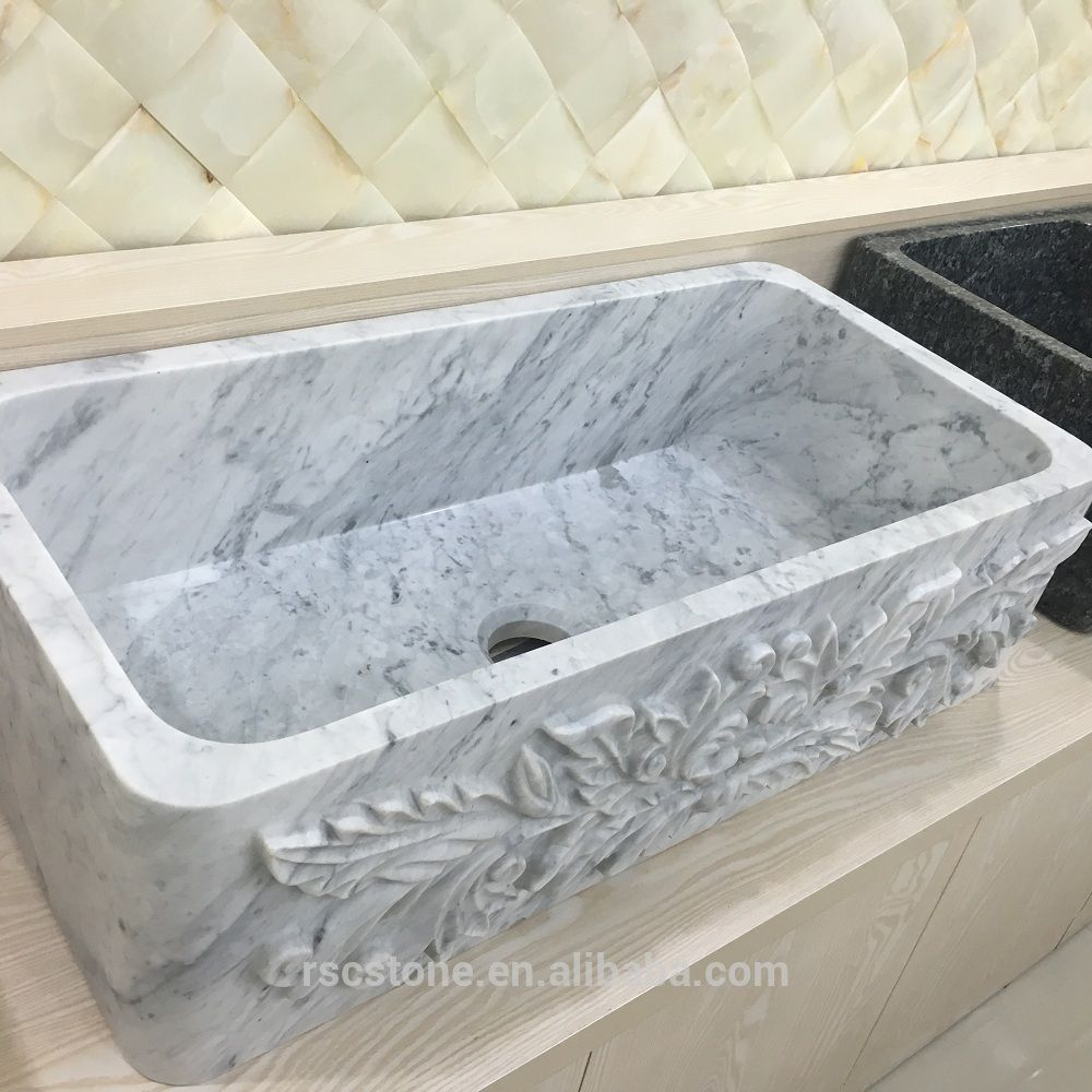 Carrara White Stone Bathroom Sink,Bathroom Basin,Kitchen Sink - Buy ...