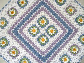"""Love Crochet: Crochet Cotton Baby 1st Flower blanket afghan granny squares 25X25"""""""
