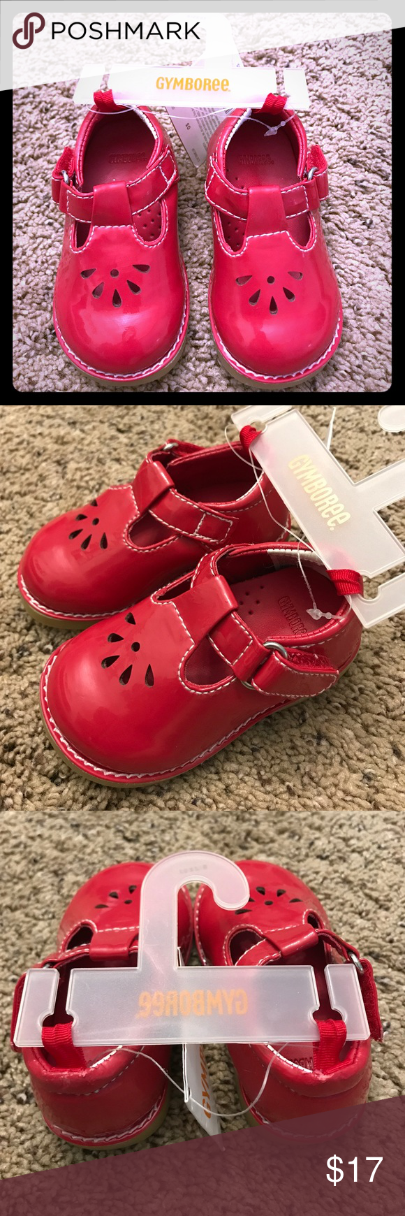 Girls red Gymboree shoes size 3 NWT Girls red Gymboree shoes, size 3.  Brand new with tags.  Shoes have velcro closure.  There is some very minor, unnoticeable scratches on the back of each shoe from the plastic holding the shoes together, as shown in the pictures. Gymboree Shoes
