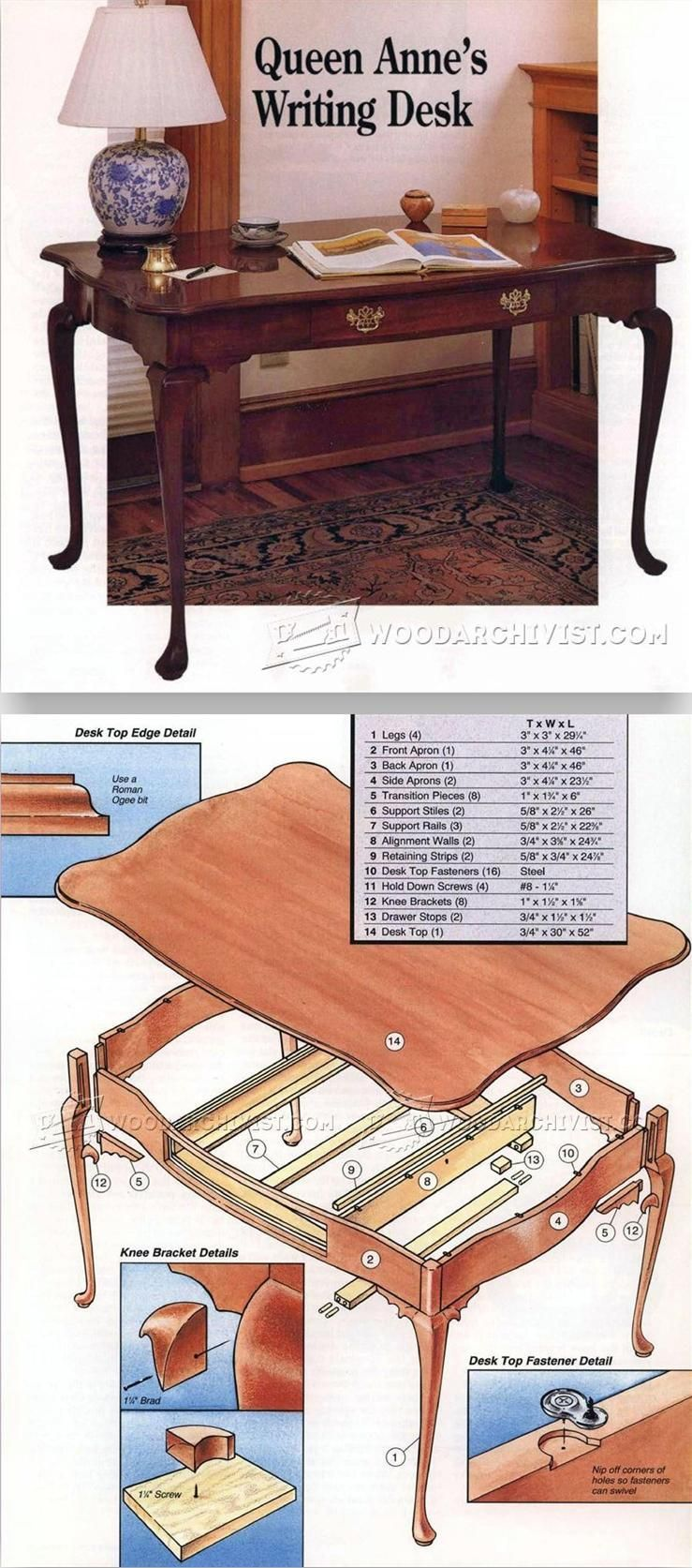 queen anne writing desk plans - furniture plans and projects