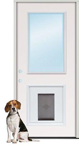 3 0 Quot Half Lite Steel Prehung Door Unit With Pet Door