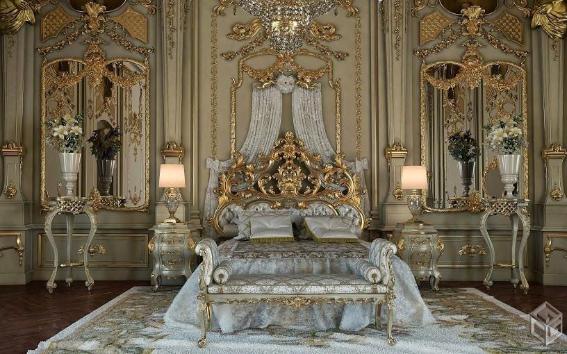 Attrayant Royal Gold Bedroom Set Carved With King Size Bed   Top And Best Italian  Classic Furniture