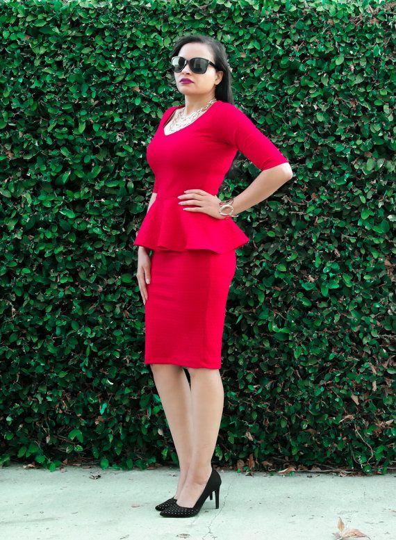 Peplum Dress / Knee Length Dress / Plus Size / All Sizes / Red ...