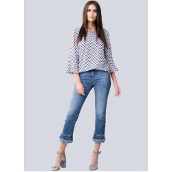 Photo of Alba Moda, jeans with a fashionable valance on the hem, blue Alba Moda