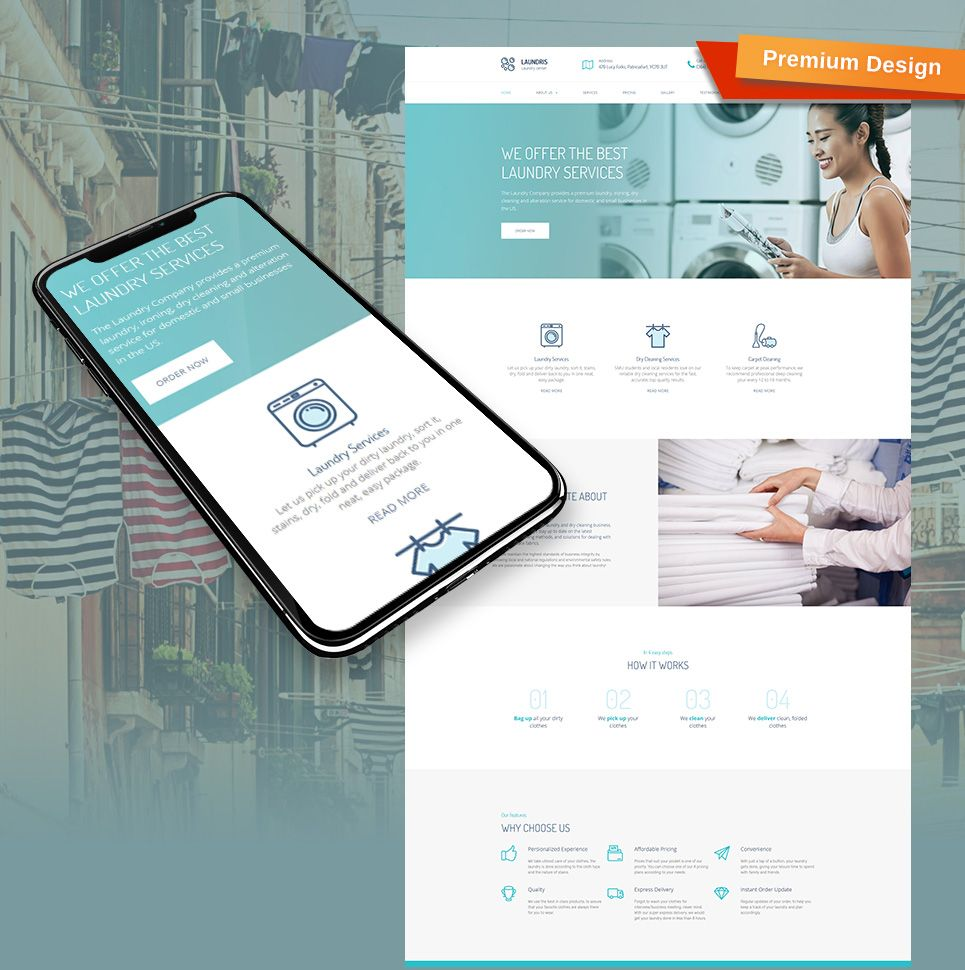 Laundromats, Laundry and Dry Cleaning Premium Moto CMS 3 Template ...