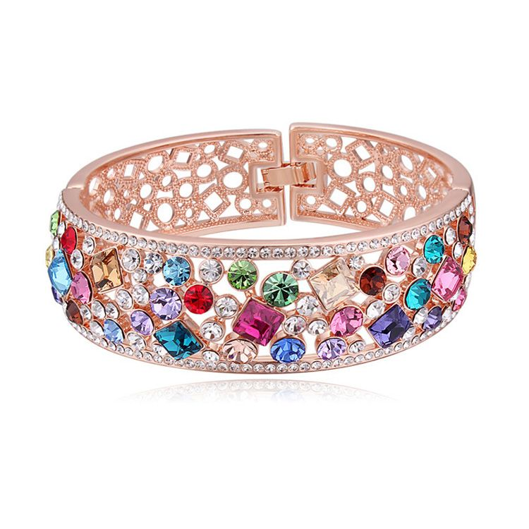 Zinc Alloy Bangle, with Austrian Crystal, real rose gold plated, lead & cadmium free, 22mm, Inner Diameter:Approx 56x61mm, Length:Approx 7 Inch,china wholesale jewelry beads