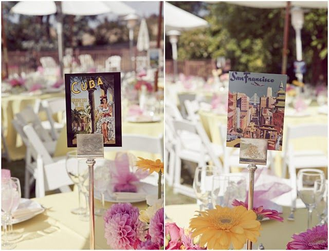 Rachel Nelson Instead Of Table Numbers Each Has A Destination Denoted By Postcard Wedding Fun Pinterest And