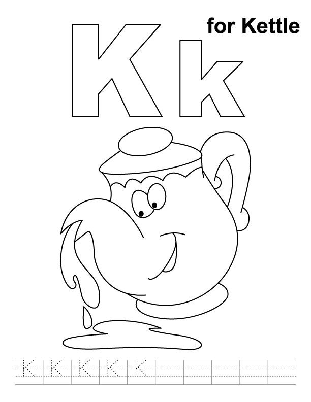 K for kettle coloring page with handwriting practice
