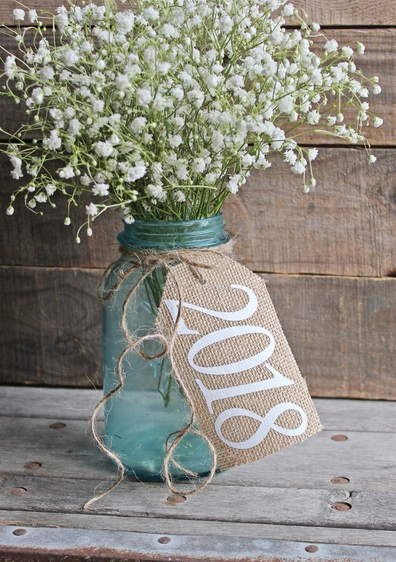 Class Of 2020 / Rustic Country Graduation Burlap Centerpiece Tags / Burlap Graduation Party Decor