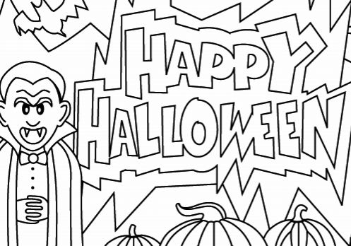 Halloween Coloring Page Happy Halloween  Coloring Pages