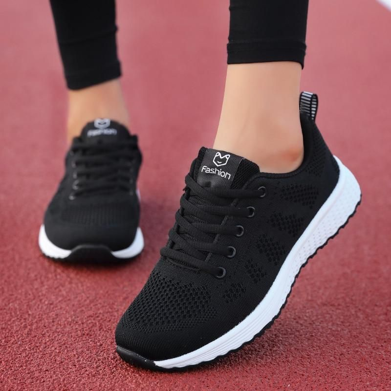 Women Casual Shoes Fashion Breathable Walking Mesh Lace Up Flat Shoes Sneakers Women 2019 Tenis Feminino Pink Black White Casual Shoes Women Casual Shoes Women Flats Shoes Women Heels