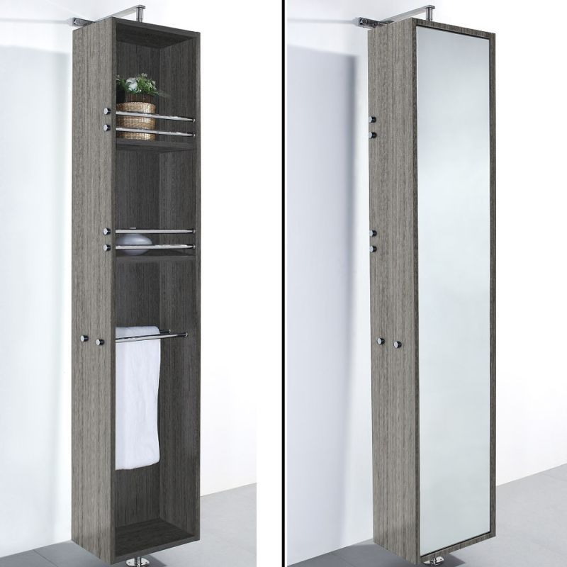 Wyndham Collection Wcv202 79 1 2 Rotating Wall Cabinet With Mirrored Side From Grey Bathroom Mirror Storage Bathroom Floor Cabinets Mirror Cabinets