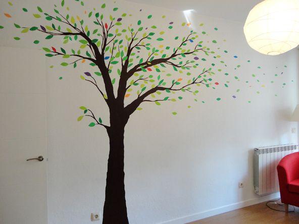 Arbol pintado en gotele con hojas de colores decoracion - Arboles decoracion interior ...