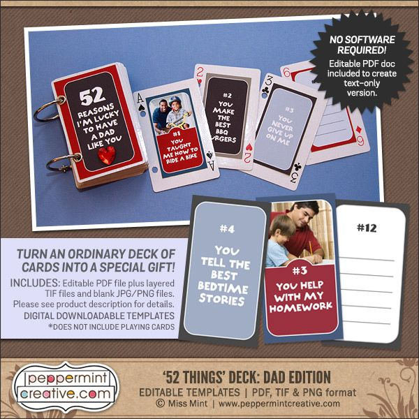 Peppermint Creative Blog Creative Nonsense Other Junk Fathers - Best of 52 reasons why i love you cards templates ideas