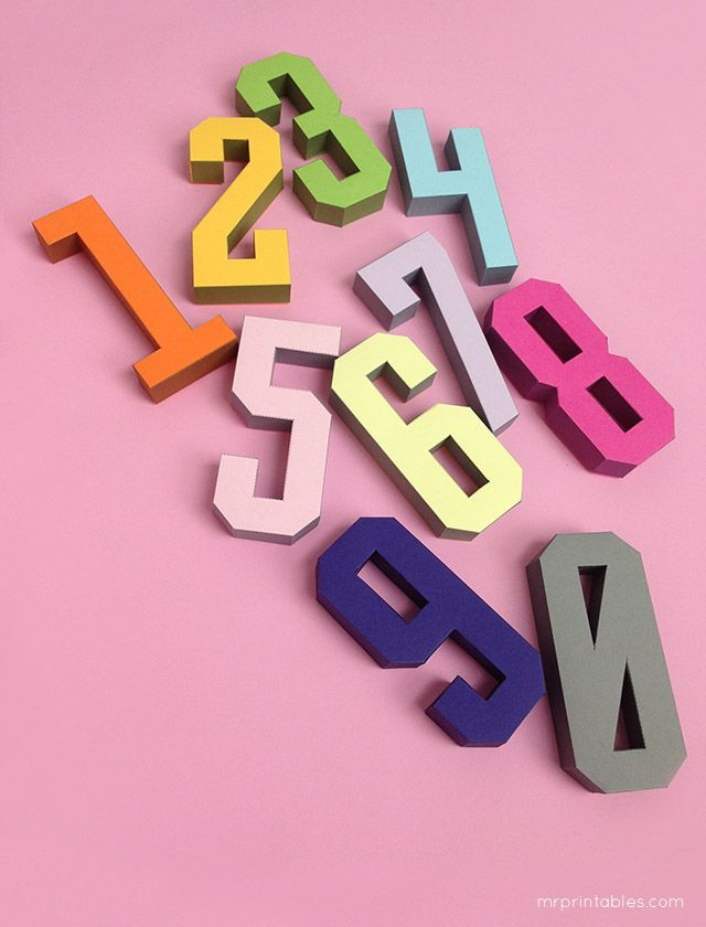 3d Number Paper Craft Templates By Mr Printables Manualidades