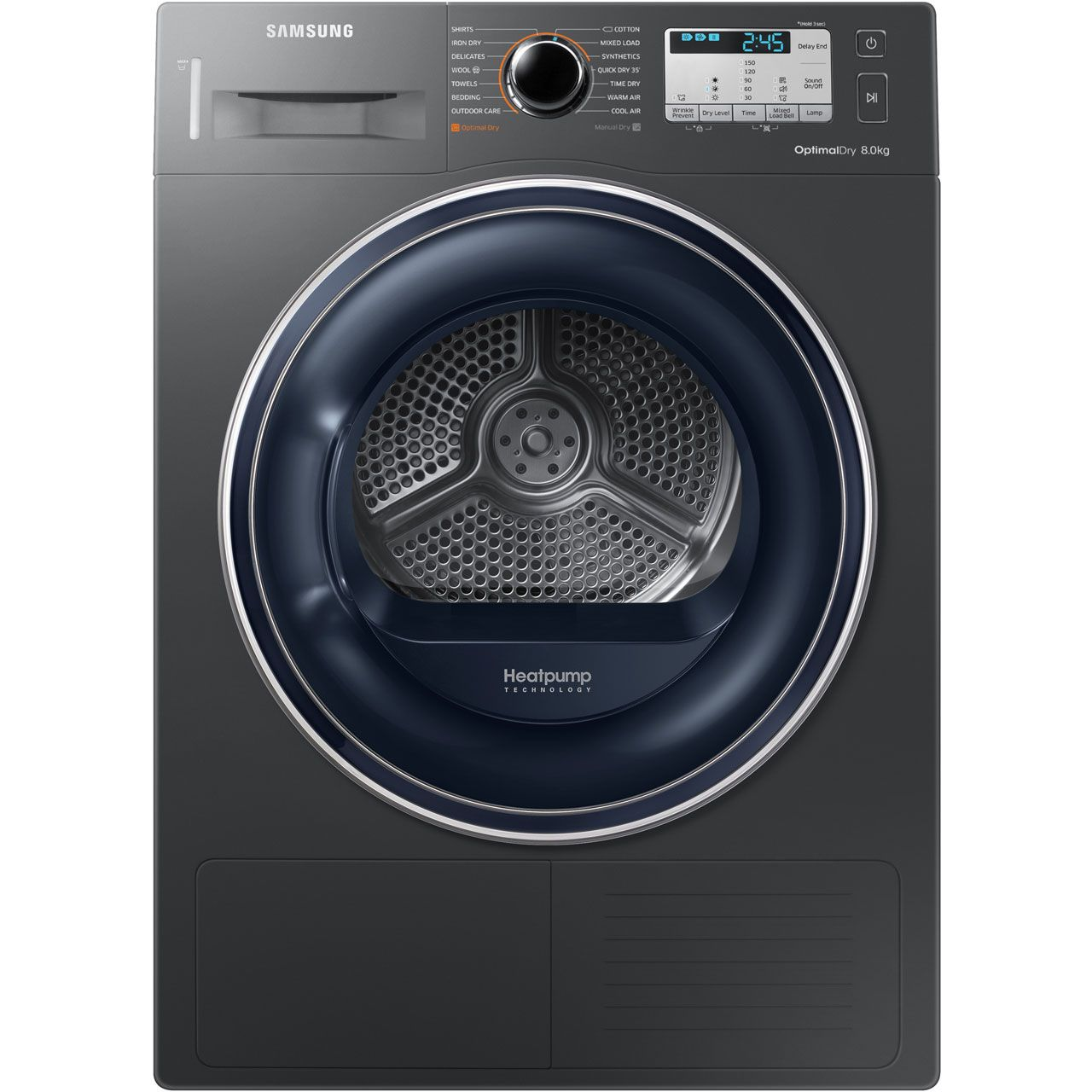 Samsung Dv80m50133x 8kg Heat Pump Tumble Dryer Graphite A Rated Heat Pump Tumble Dryers Washer Dryer Shelf