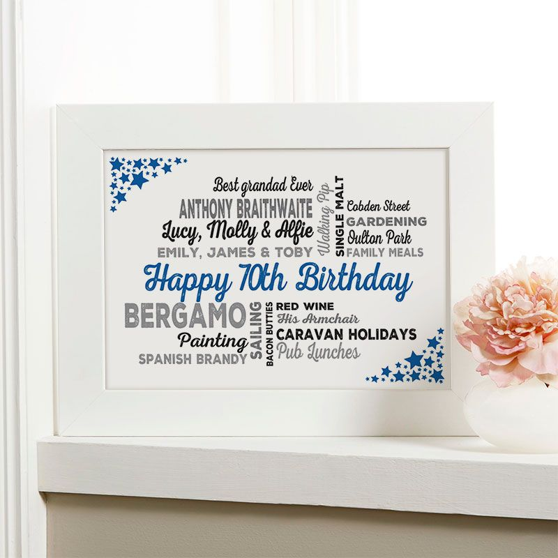 70th Birthday Gift For Him Of Typographic Art Print Royal Blue Noir Colour Option