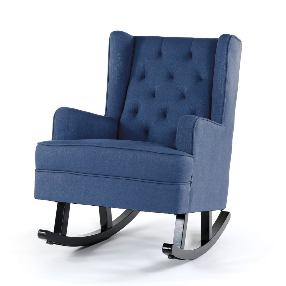 Awesome Isla Wingback Rocking Chair Navy Black Legs Rocking Chairs Camellatalisay Diy Chair Ideas Camellatalisaycom